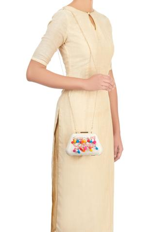 Puneet Gupta White clutch with colourful embroidered text