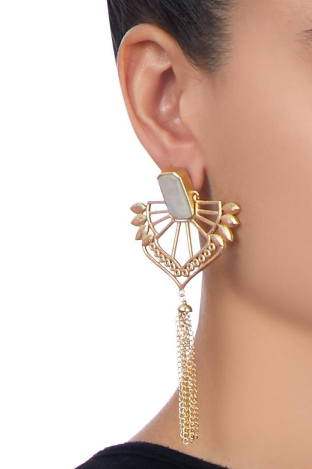 Gold long tassel earrings