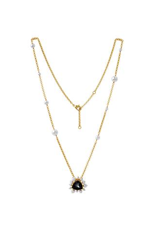 Gold plated Isharaya black swarovski necklace