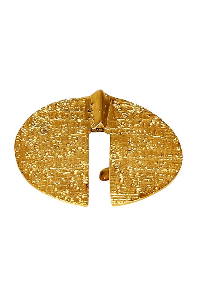 Gold plated oversized circular motif ring