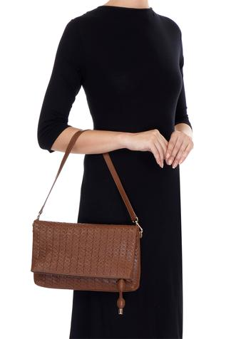 Tan-brown cross body bag with long handle