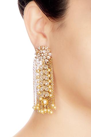 Gold & white alloy uncut flower earring with chain