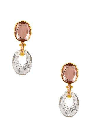Gold plated swarovski patina crystal earrings