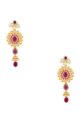 Pink stone dangling floral earrings