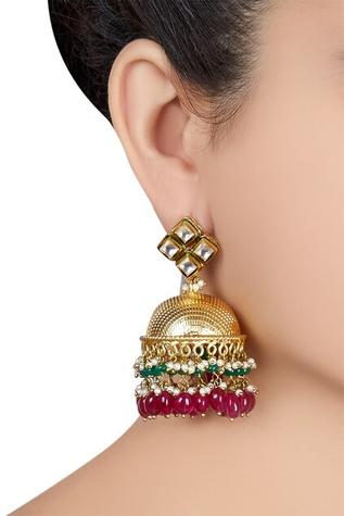 Jumka earrings with white pearls & pink stones