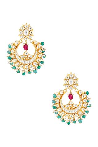 Chandbali earrings with kundan & pink stones