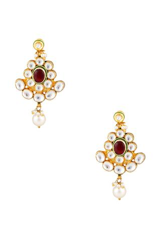 Kundan long earrings with dangling pearls