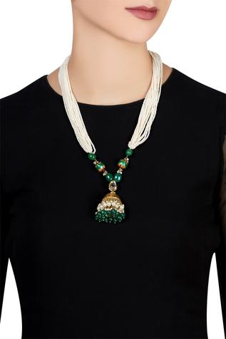 Jhumka style necklace with pearl chains