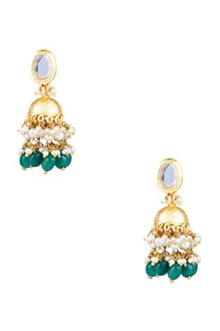 Jhumka earrings with pearls & green stones
