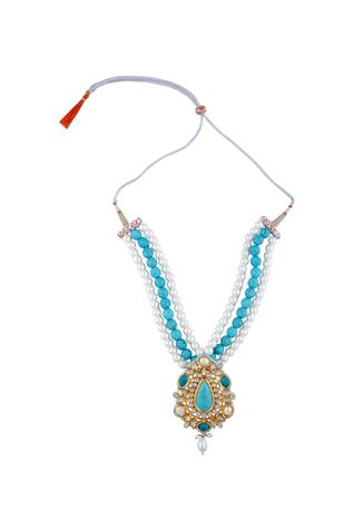 Kundan & faceted tiered necklace with earrings