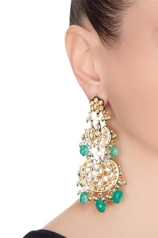 Pearl & kundan dangling earrings