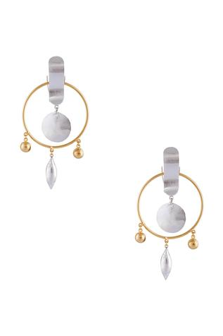 Silver & gold finish hoop-shape earrings with drop accents