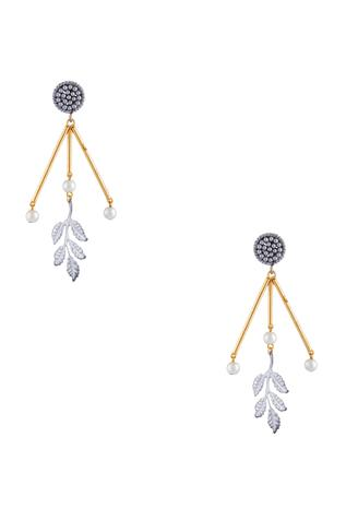 Silver & gold leaf motif long earrings with pearls
