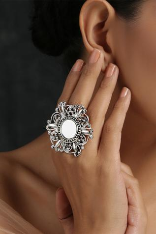 Oxidized Floral Mirror Ring