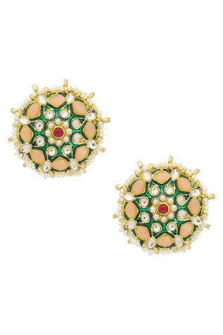 Kundan Meenakari Floral Stud Earrings