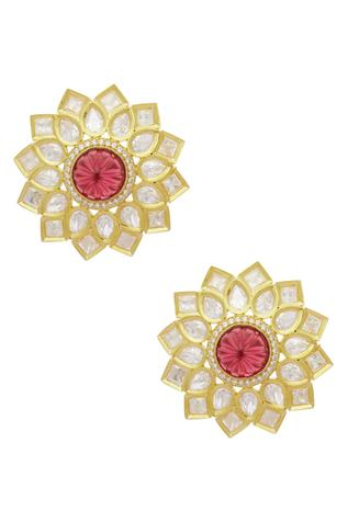 Floral Kundan Stud Earrings