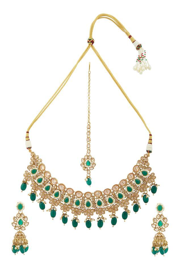 Moh-Maya by Disha Khatri Bead Drop Necklace Set