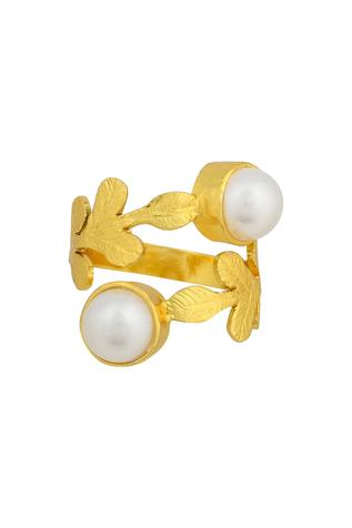 Floral Bead Double Ring