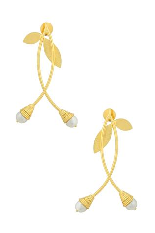 Leaf Bead Statement Earrings