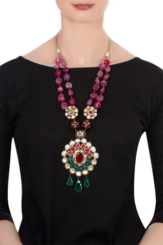Stone encrusted long statement necklace