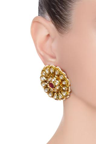 Kundan & pearl floral stud earrings