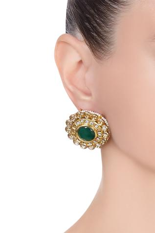 Pearl & kundan floral stud earrings