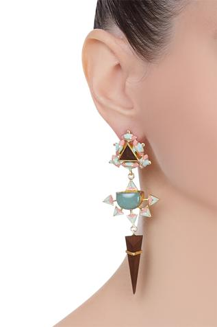 Dangler earrings with handcrafted 3D design