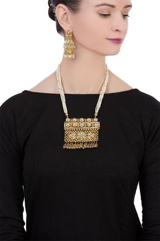 Pearl beaded necklace with matching jhumkis