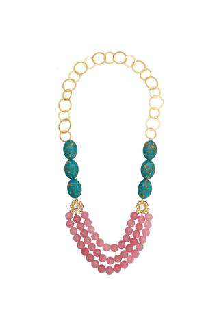 Layered necklace with multi color stones
