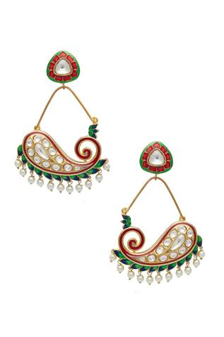 Red and green lotus shaped earrings