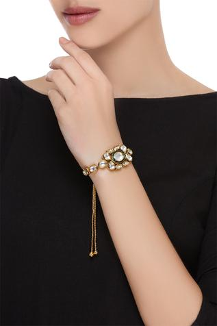 Kundan bracelet with meenakari work