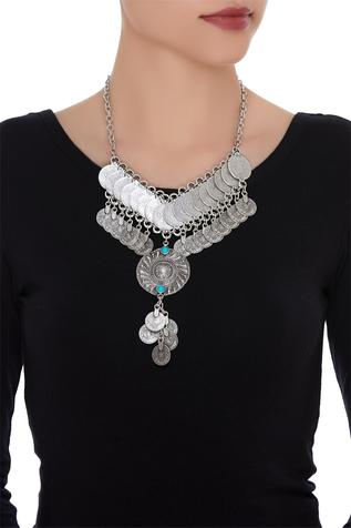 Coin necklace encrusted with pendant & stones
