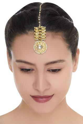 Antique gold plated maangtikka with pearls