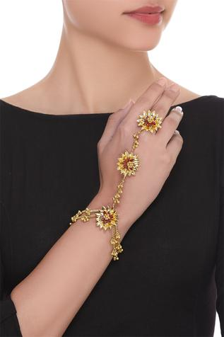 Floral motif hand harness
