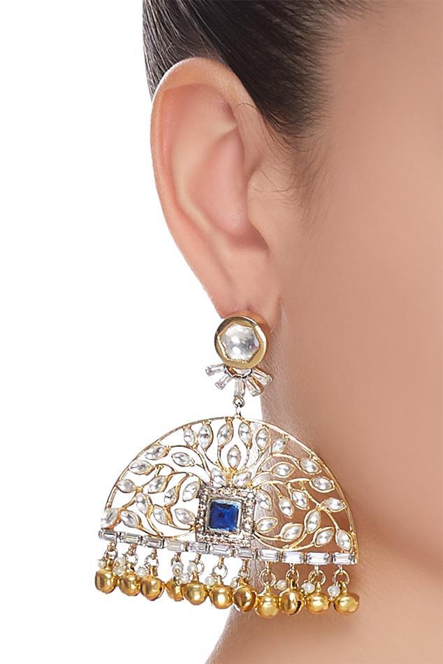 Nepra by Neha Goel Stone & pearl chandbalis