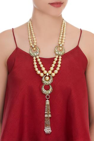 Pearl necklace with hand painted work & zircon pendant