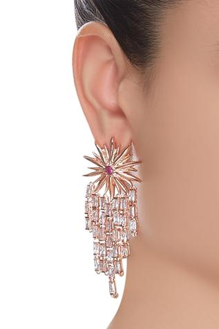 Floral earrings with ruby & zircon