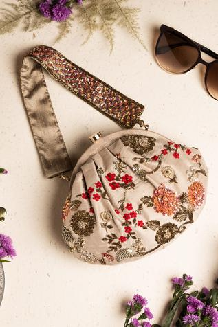 Floral Embroidered Clutch with Handle