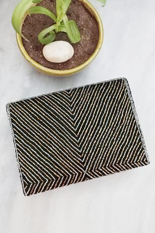 A Clutch Story Velvet Beaded Flap Clutch with Sling