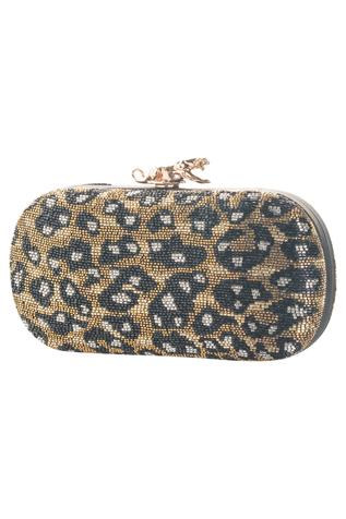 Animal Print Bead Embellished Clutch