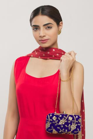 Velvet Embroidered Clutch with Sling