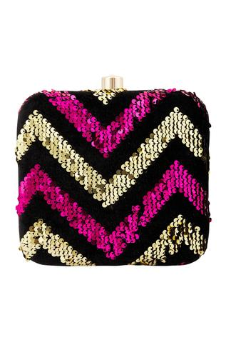 Nayaab by Aleezeh Sequin Box Clutch with Sling