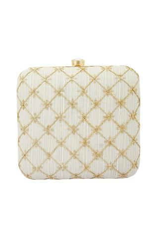 Nayaab by Aleezeh Checkered Box Clutch with Sling