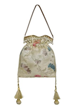 Silk Floral Embroidered Potli Bag