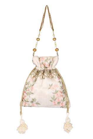 Silk Floral Embroidered Polti Bag