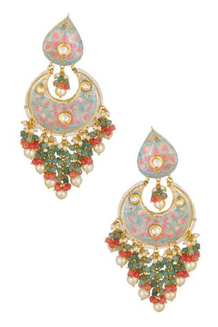 Kundan Bead Drop Chandbalis