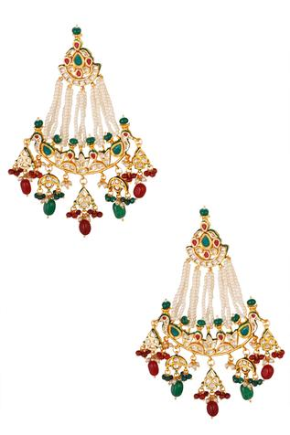 Kundan Bead Drop Chandeliers