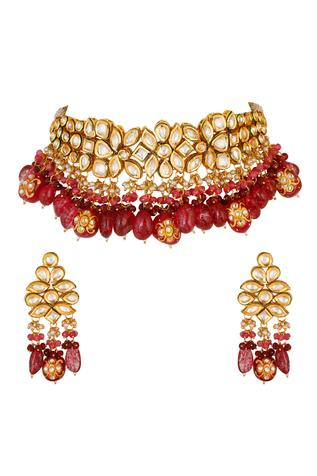 Kundan Bead Drop Choker Set