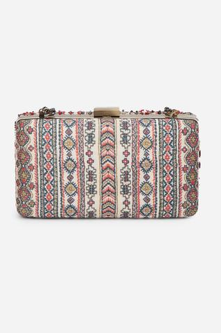 Embroidered Box Clutch with Sling