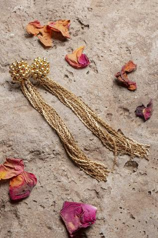 Bead Fringe Long Earrings